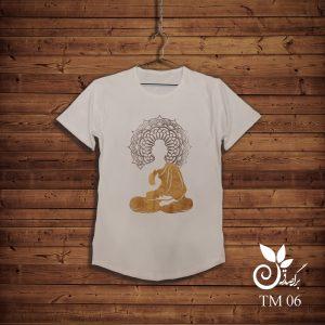 تیشرت سفید طرح بودا